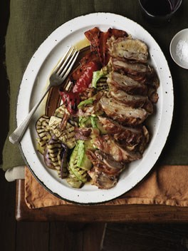 Chicken with pancetta and chargrilled vegetables