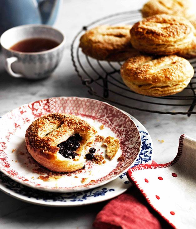 "**[Eccles cakes](http://gourmettraveller.com.au/eccles-cakes.htm|target=""_blank"")** <br> Made from rich, flaky pastry filled with dried currants and hints of spice, this favourite from the north of England is best served with steaming hot tea. Better put the kettle on."