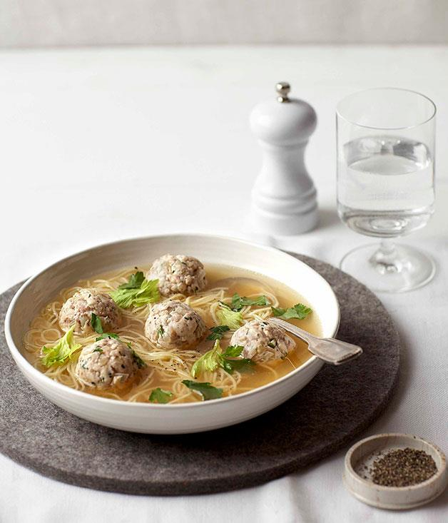 "**[Chicken meatball and noodle soup](https://www.gourmettraveller.com.au/recipes/browse-all/chicken-noodle-soup-8708|target=""_blank"")**"