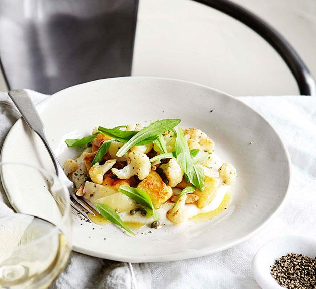 Cauliflower and cheese with gnocchi, raisins and dandelion
