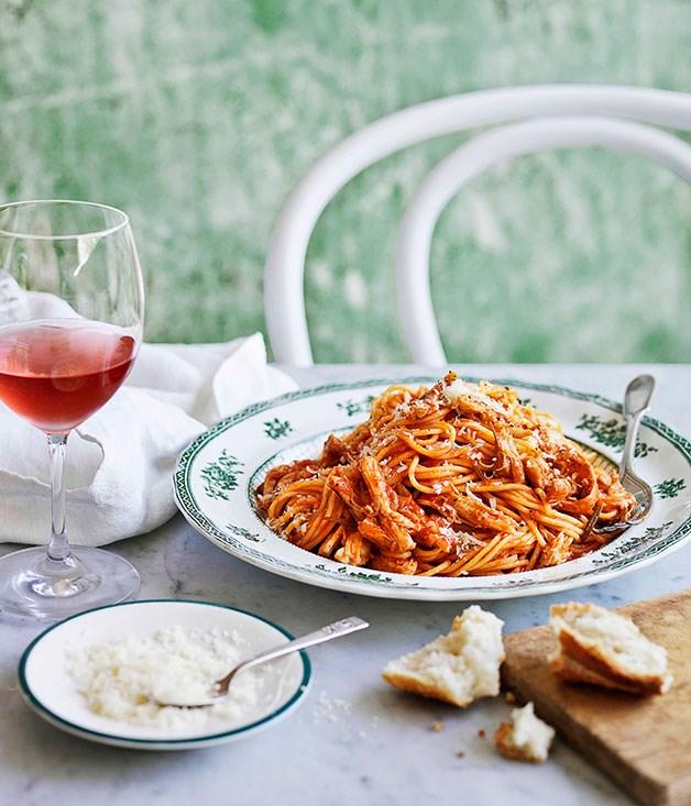 Mum's spaghettini with braised chicken, tomato and rosemary sauce