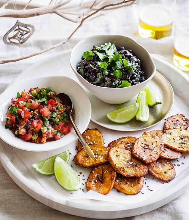 Tostones with black-bean mash