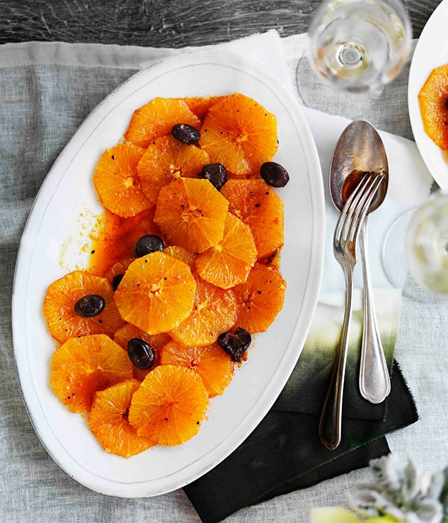 "[**Orange and olive salad**](https://www.gourmettraveller.com.au/recipes/chefs-recipes/orange-and-olive-salad-9068|target=""_blank"") <br><br> Your culinary passport to Morocco comes in the form of this orange salad that's a treat for your eyes as well as your taste buds."