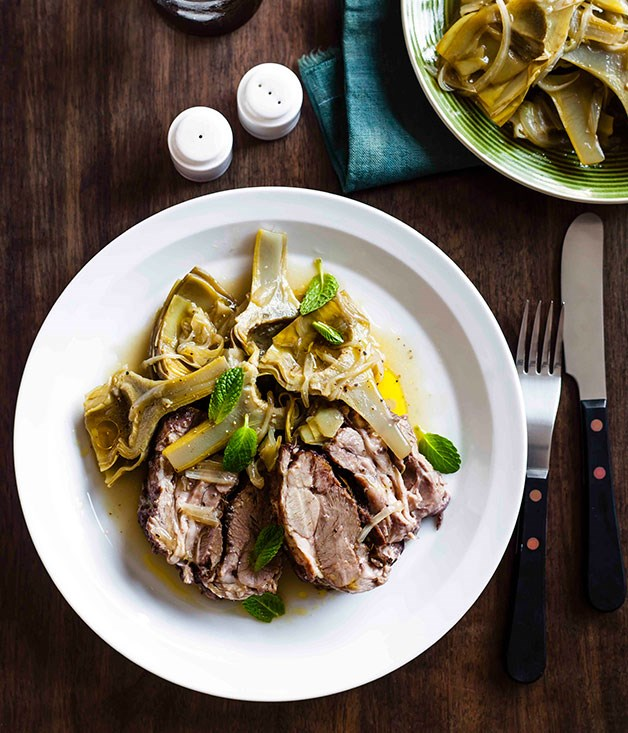 Slow-roasted lamb with sautéed artichokes and mint