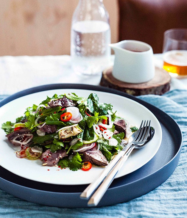 **Hot and sour duck liver salad with mint, coriander and lime**