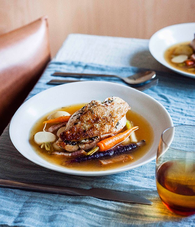 **Spring chicken pot au feu** **Spring chicken pot au feu**    [View Recipe](http://www.gourmettraveller.com.au/spring-chicken-pot-au-feu.htm)