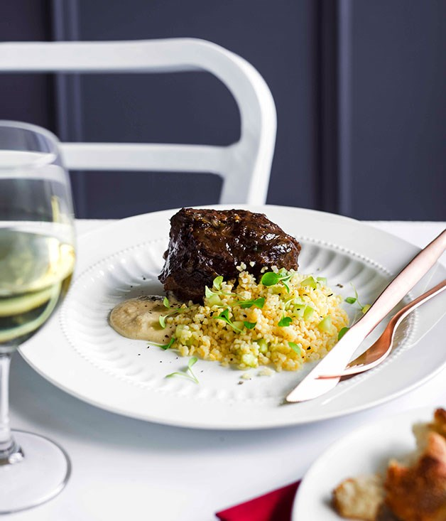 "[**Braised beef cheek, burghul salad, and bread and anchovy sauce**](https://www.gourmettraveller.com.au/recipes/chefs-recipes/braised-beef-cheek-burghul-salad-and-bread-and-anchovy-sauce-9079|target=""_blank"")"