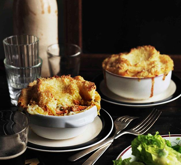 Fish pies with lettuce heart and herb salad