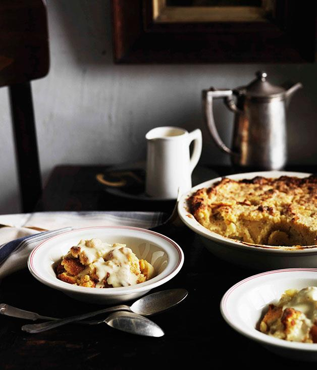 """**[Heirloom apple pudding with vanilla custard](http://gourmettraveller.com.au/heirloom-apple-pudding-with-vanilla-custard.htm
