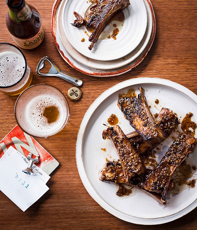 **Char-grilled lamb ribs with coriander and pepper**