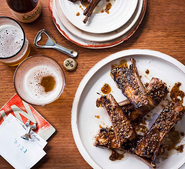 Char-grilled lamb ribs with coriander and pepper