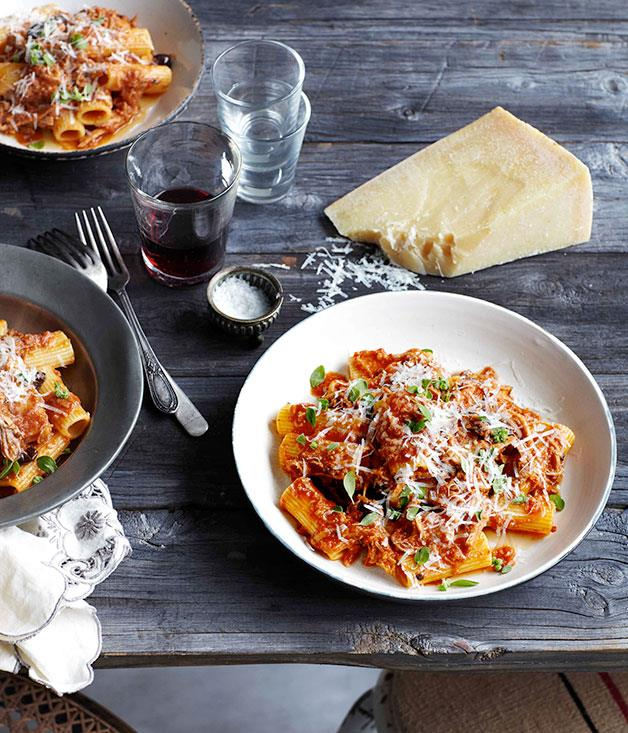 """[**Rigatoni with braised pork, tomato and olives**](https://www.gourmettraveller.com.au/recipes/chefs-recipes/rigatoni-with-braised-pork-tomato-and-olives-9093