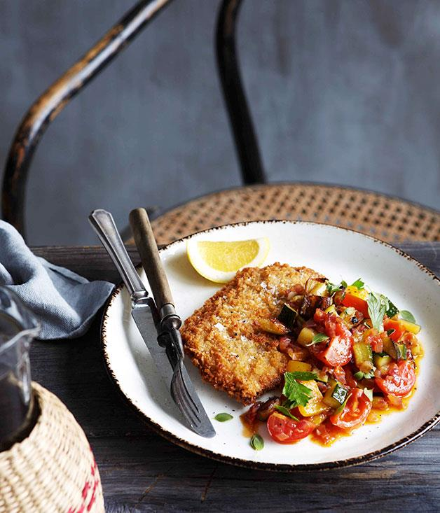 **Crumbed veal scaloppine with caponata**