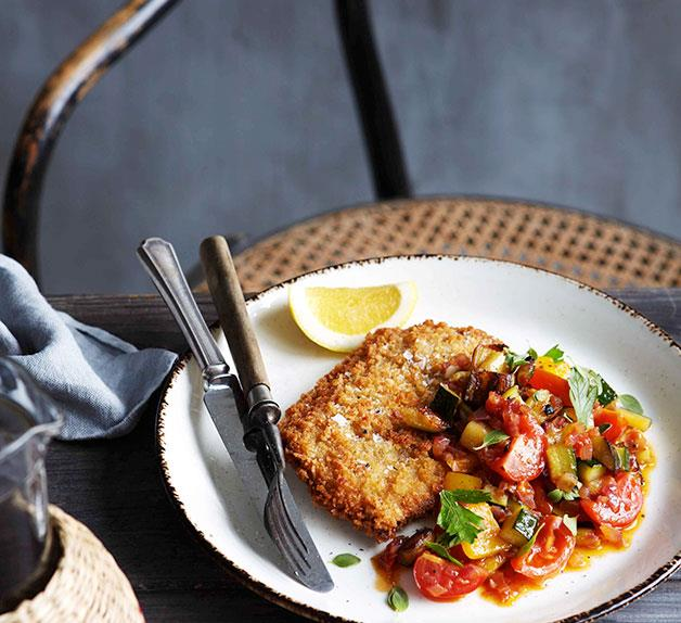 Crumbed veal scaloppine with caponata