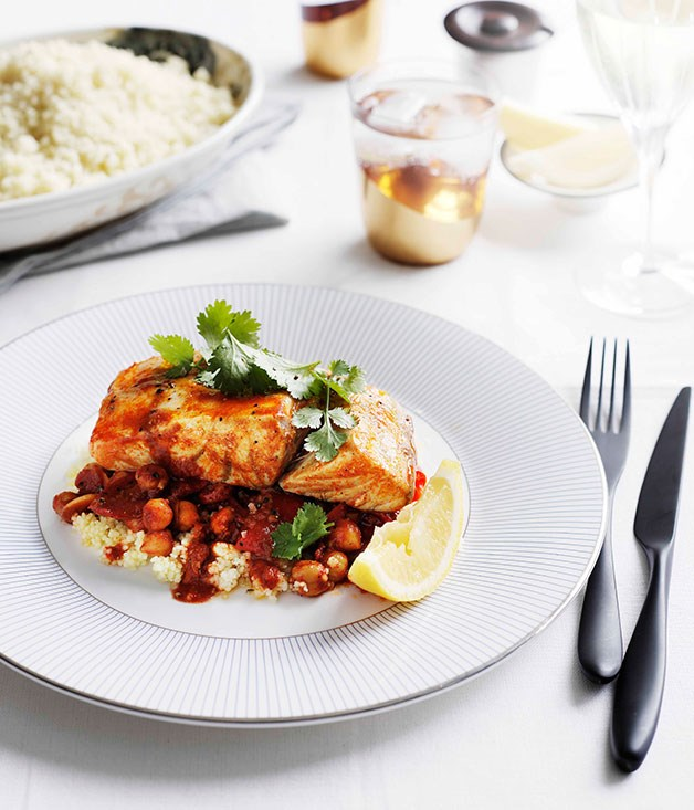 Moroccan-style barramundi with chickpeas and chilli