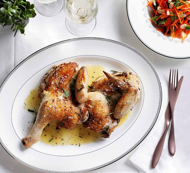 Roast chicken with carrot, currant and almond salad