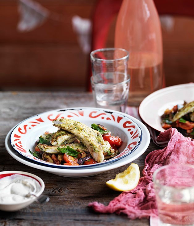 "[**Chermoula flathead with eggplant and tahini yoghurt**](https://www.gourmettraveller.com.au/recipes/chefs-recipes/chermoula-flathead-with-eggplant-and-tahini-yoghurt-9102|target=""_blank"")"