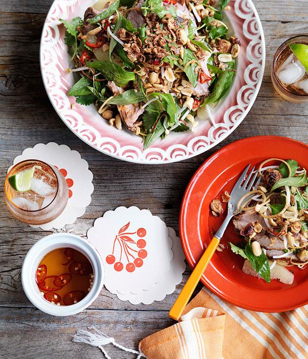 """[**Pomelo, banana blossom and roast pork salad**](https://www.gourmettraveller.com.au/recipes/chefs-recipes/pomelo-banana-blossom-and-roast-pork-salad-9104