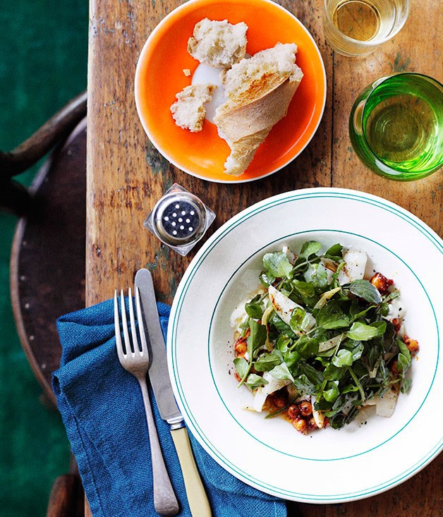 Barbecued calamari with chickpeas and preserved lemon (Calamares asado)