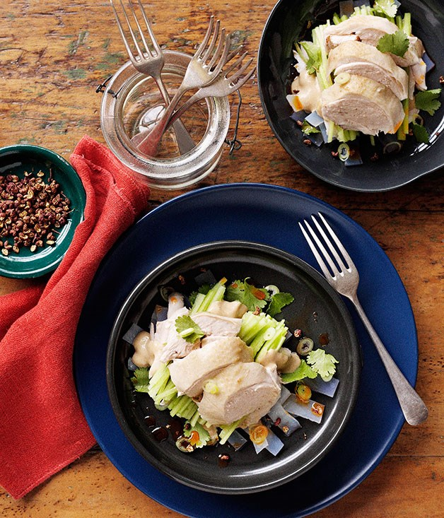 **Chicken with house-made noodles and sesame** **Chicken with house-made noodles and sesame**    [View Recipe](http://www.gourmettraveller.com.au/chicken-with-house-made-noodles-and-sesame.htm)