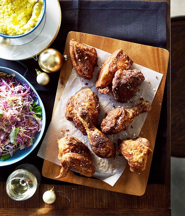 "**[Fried chicken with creamed corn and coleslaw](http://www.gourmettraveller.com.au/recipes/chefs-recipes/fried-chicken-with-creamed-corn-and-coleslaw-9008|target=""_blank"")**"