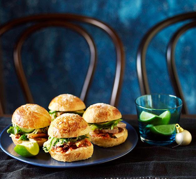 Roast pork belly and kimchi burgers