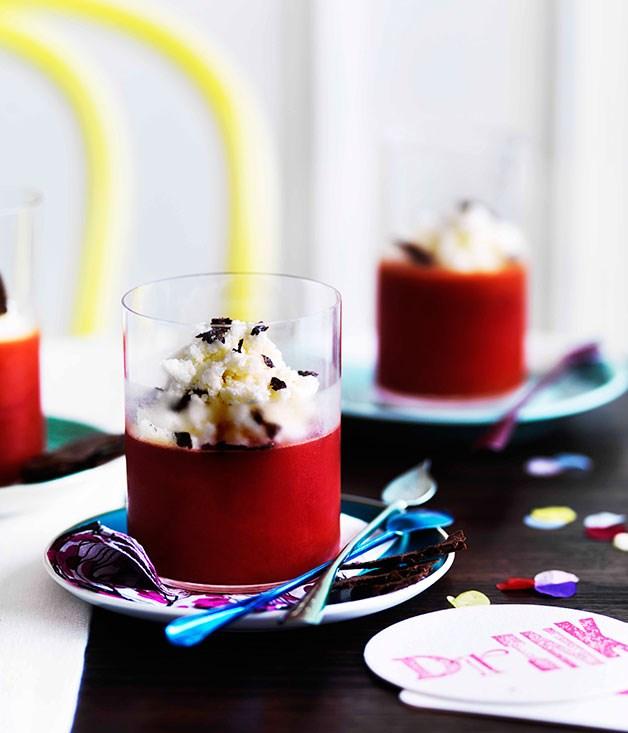 Blood-orange jellies with leche merengada