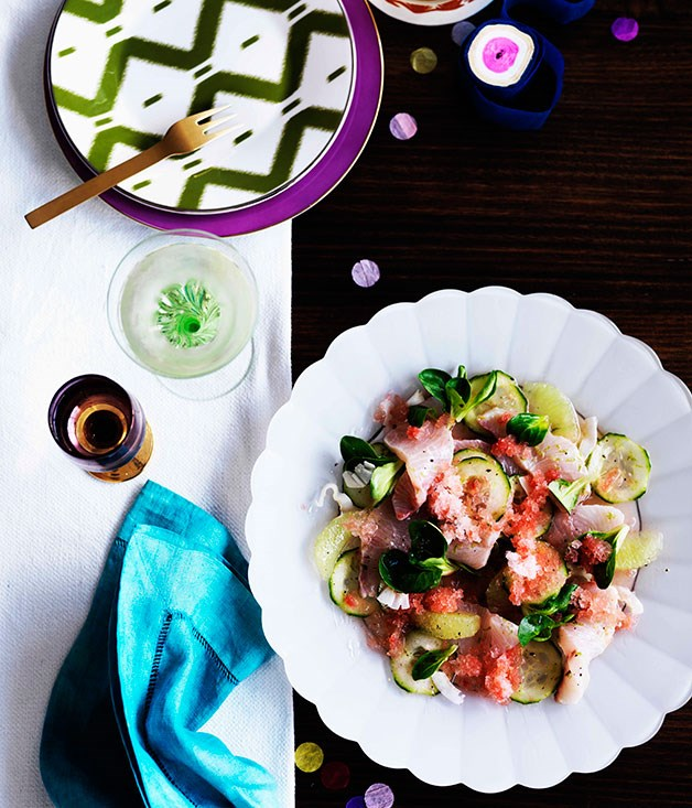 "[**Kingfish, cucumber and watermelon salad**](https://www.gourmettraveller.com.au/recipes/chefs-recipes/kingfish-cucumber-and-watermelon-salad-9013|target=""_blank"")"