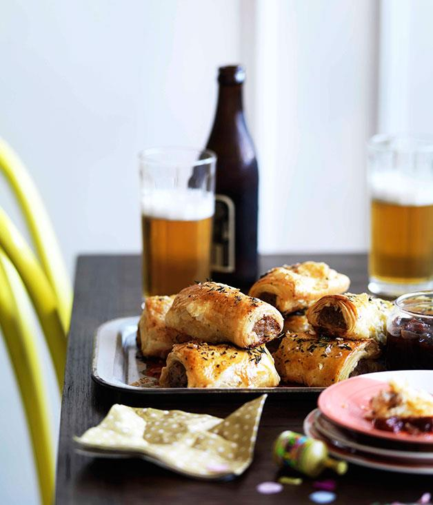 "**[Bangalow pork sausage rolls with caramelised apple and thyme](http://www.gourmettraveller.com.au/recipes/chefs-recipes/bangalow-pork-sausage-rolls-with-caramelised-apple-and-thyme-9014|target=""_blank"")**"