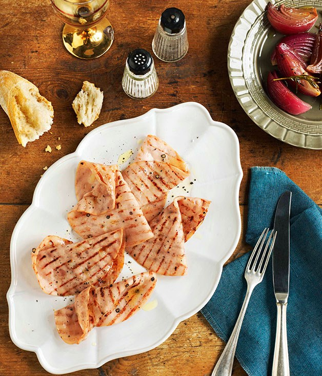 Grilled mortadella with pickled onions