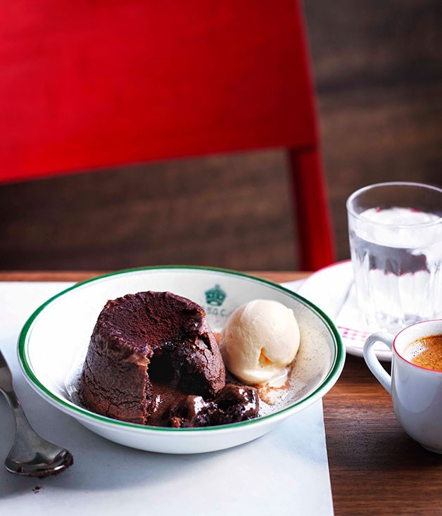 **Soft-centred chocolate budini with milk ice-cream**