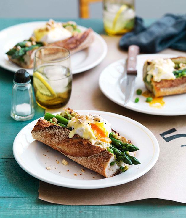 "[Asparagus, poached egg and Taleggio baguette](http://www.gourmettraveller.com.au/asparagus-poached-egg-and-taleggio-baguette.htm|target=""_blank"")"