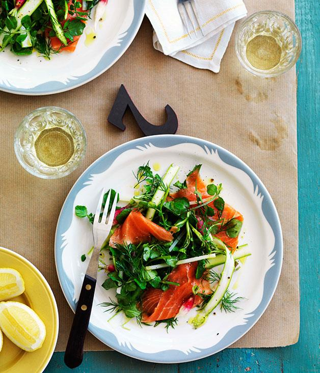 """[Smoked trout, asparagus and radish salad](http://www.gourmettraveller.com.au/smoked-trout-asparagus-and-radish-salad.htm