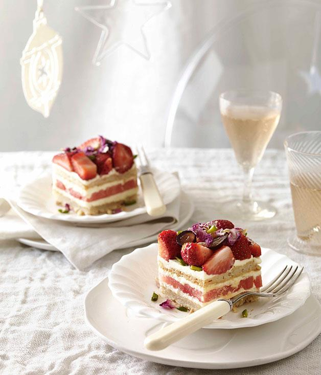 """[**Strawberry and watermelon cake**](http://gourmettraveller.com.au/strawberry-and-watermelon-cake.htm