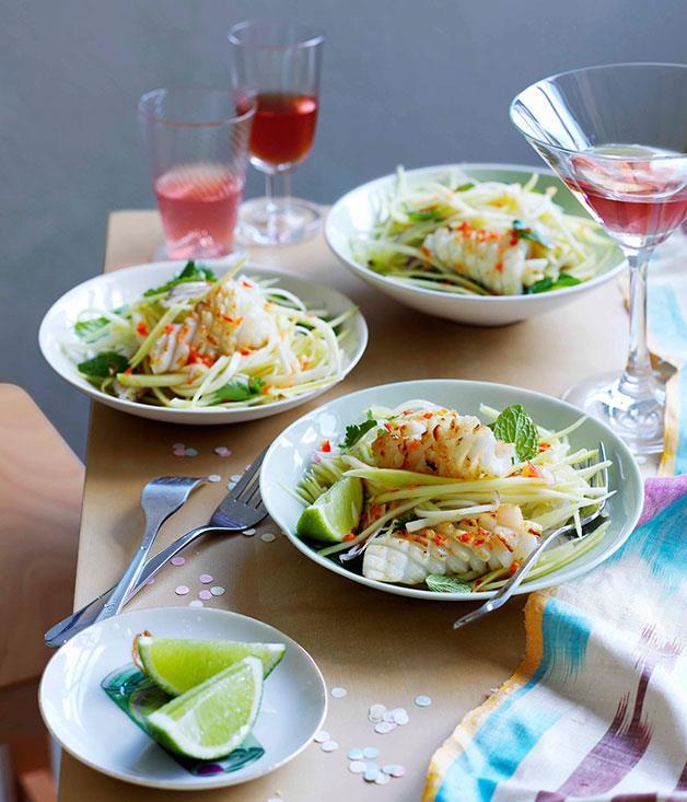 """[**Calamari and green mango salad**](https://www.gourmettraveller.com.au/recipes/chefs-recipes/calamari-and-green-mango-salad-8965 target=""""_blank"""")"""