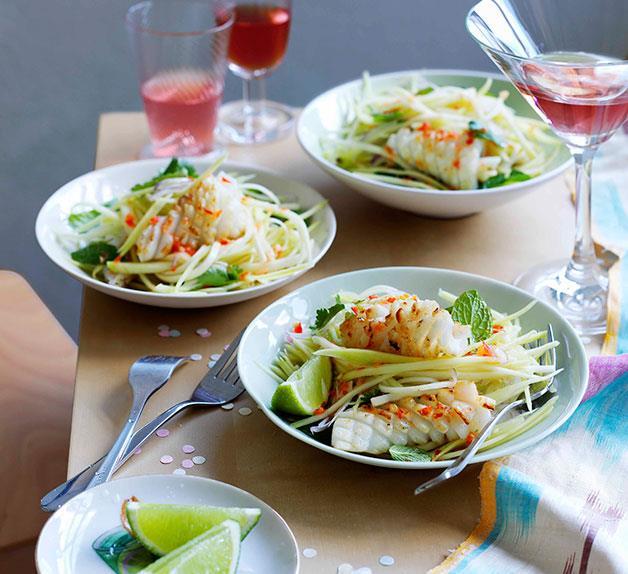 Calamari and green mango salad