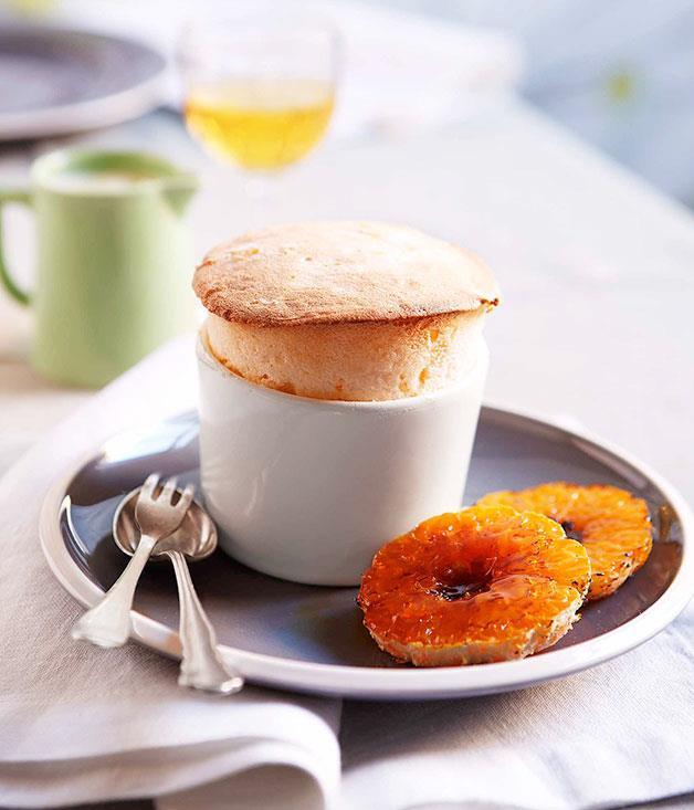 "**[Mandarin soufflé with white chocolate sauce](https://www.gourmettraveller.com.au/recipes/chefs-recipes/mandarin-souffle-with-white-chocolate-sauce-8970|target=""_blank""