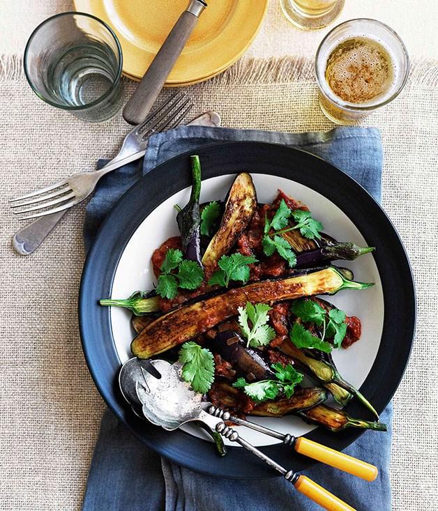 "**[Eggplant pachadi](https://www.gourmettraveller.com.au/recipes/chefs-recipes/eggplant-pachadi-8974 target=""_blank"")**"