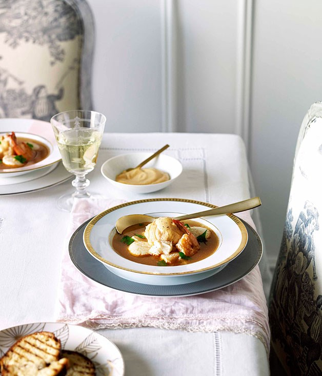 "[Bouillabaisse with rouille](https://www.gourmettraveller.com.au/recipes/chefs-recipes/bouillabaisse-with-rouille-8980|target=""_blank"")"