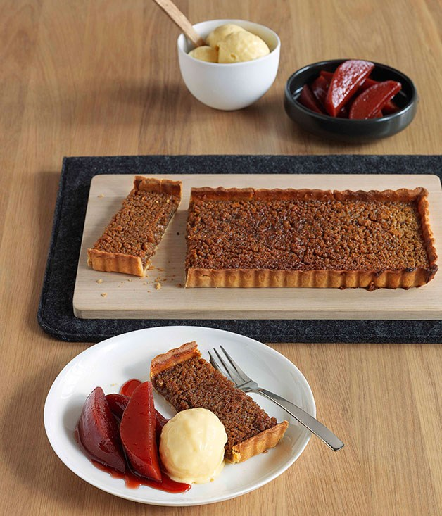 Treacle and chestnut tart with spiced quince burnt butter ice-cream