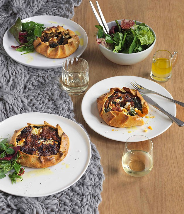 Sweet potato, silverbeet and goat's feta pies