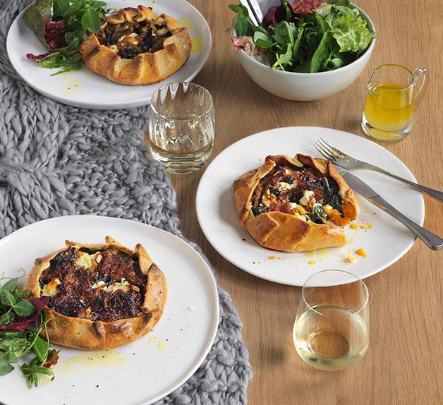 Sweet potato, silverbeet and goat's feta pies
