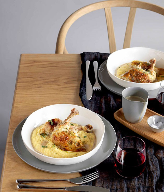 **Bistro Vue's roast chicken with polenta and wild mushroom sauce** **Bistro Vue's roast chicken with polenta and wild mushroom sauce**    [View Recipe](http://gourmettraveller.com.au/roast-chicken-with-polenta-and-wild-mushroom-sauce.htm)     PHOTOGRAPH **JASON LOUCAS**