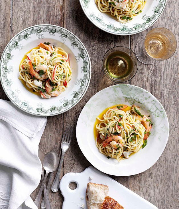 "[**Spaghetti con pesce d'acqua dolce (spaghetti with freshwater fish)**](https://www.gourmettraveller.com.au/recipes/chefs-recipes/spaghetti-con-pesce-dacqua-dolce-spaghetti-with-freshwater-fish-8987|target=""_blank"")"