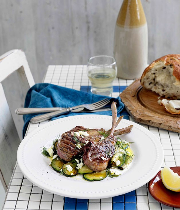**Char-grilled lamb with zucchini, feta and dill** **Char-grilled lamb with zucchini, feta and dill**    [View Recipe](http://gourmettraveller.com.au/char-grilled-lamb-with-zucchini-feta-and-dill.htm)     PHOTOGRAPH **BEN DEARNLEY**
