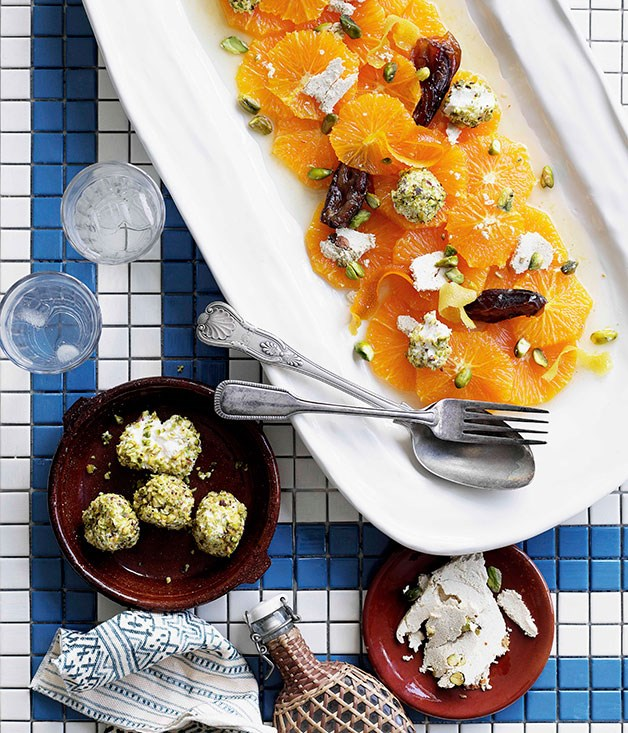 "[**Date and orange salad with halva and pistachio yoghurt**](https://www.gourmettraveller.com.au/recipes/chefs-recipes/date-and-orange-salad-with-halva-and-pistachio-yoghurt-8995|target=""_blank"") <br><br> Cinnamon, rosewater, dates and pistachios come together for the salad version of The Arabian Nights."