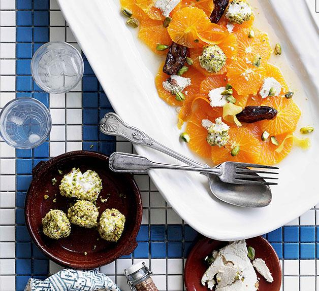 Date and orange salad with halva and pistachio yoghurt