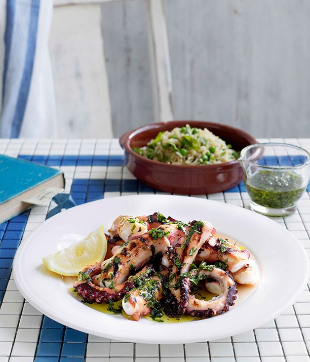 Octopus with pea, mint and shallot pilaf and Grecian salsa verde