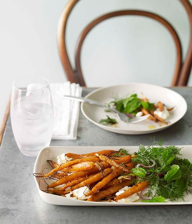 """[**Baby carrots with labne and herb salad**](https://www.gourmettraveller.com.au/recipes/chefs-recipes/baby-carrots-with-labne-and-herb-salad-8997