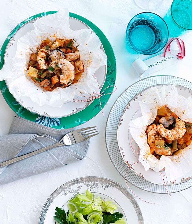 Turkish-style mussel and prawn pilaki with parsley salad